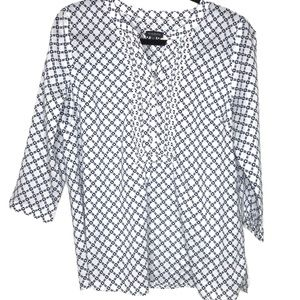 Talbots Split Neck Popover Blouse-Pin Tucks-Size M